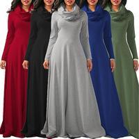 Adogirl Dài Tay Áo Phụ Nữ Mùa Đông Ấm Áp Dresses Cộng Với Kích Thước Womens Mùa Thu Tầng Chiều Dài Dài Dresses Formal Đảng Mặc Vestido