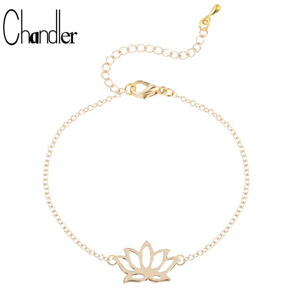 Chandler Simple Lotus Flower Chain Bracelet DIY Alloy Zinc Yoga Flora Sporty Link Chian Adjustable Anklet Trendy Summer Jewelry
