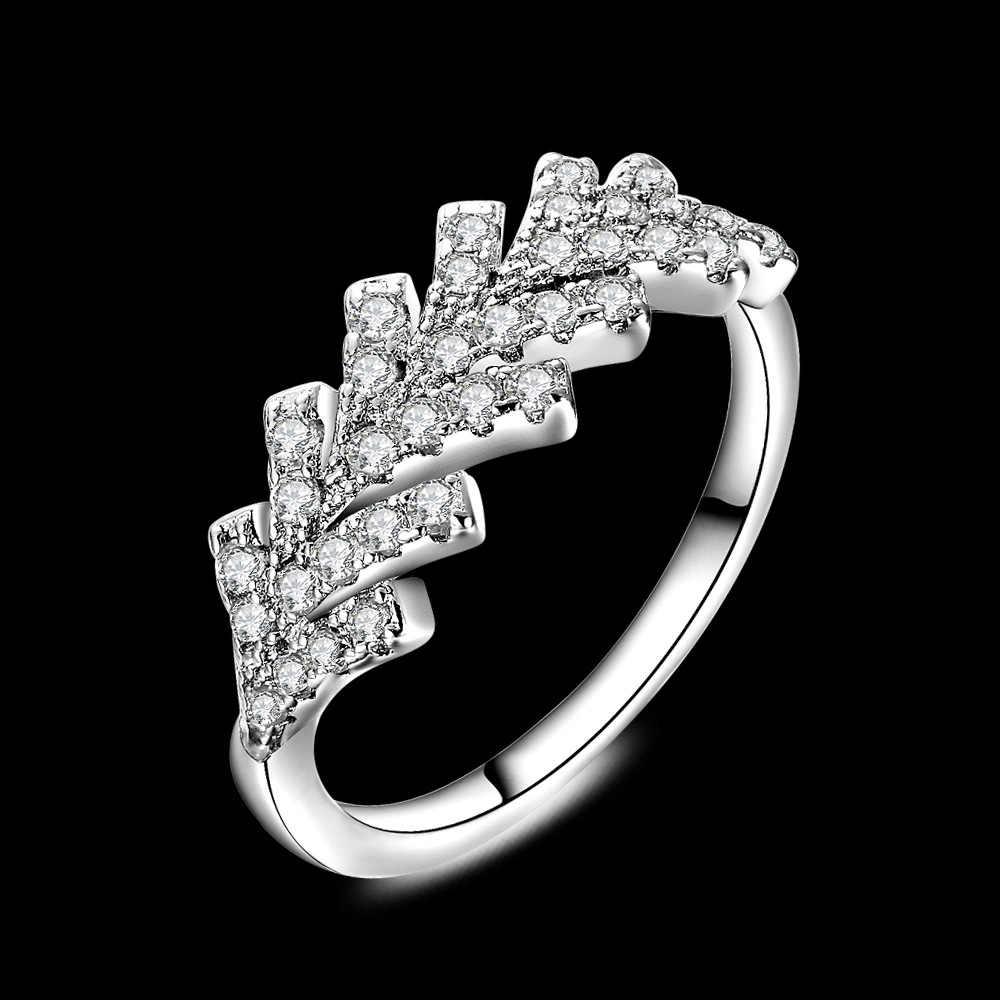 KOFSAC 2018 Charm Feather รูปร่างแหวนหรูหรา CZ เครื่องประดับหญิง 925 เงินสเตอร์ลิงแหวนเงินผู้หญิงงานแต่งงานแฟชั่นเครื่องประดับ