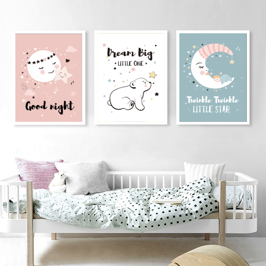 Baby Walls Decoration Dream Big Little Boys Nursery Navy & White Room Wall Art Poster Picture Prints
