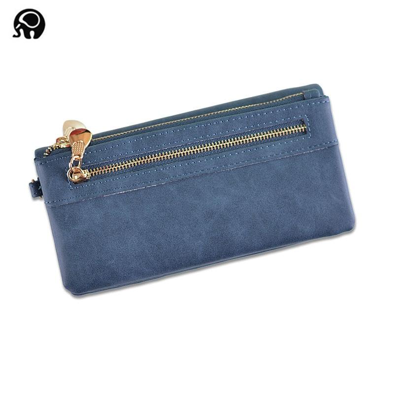 Hot Selling Women's Long Wallet Female High Capacity Double Zippers Clutch Purse Wristlet Women's Purse Long Design PU Leather