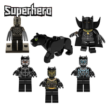 Super Heroes Marvel Avenger Black Panther With Claws Mini Doll Erik Killmonger Infinity War Building Block