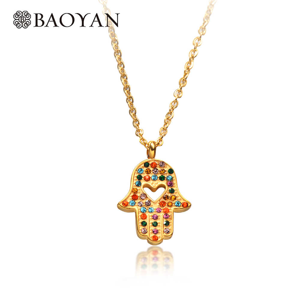 Baoyan Fashion Crystal Hamsa Necklace Rose  Gold/Silver/Gold Stainless Steel Hollow Heart Fatima Hand Pendant Necklace For Women