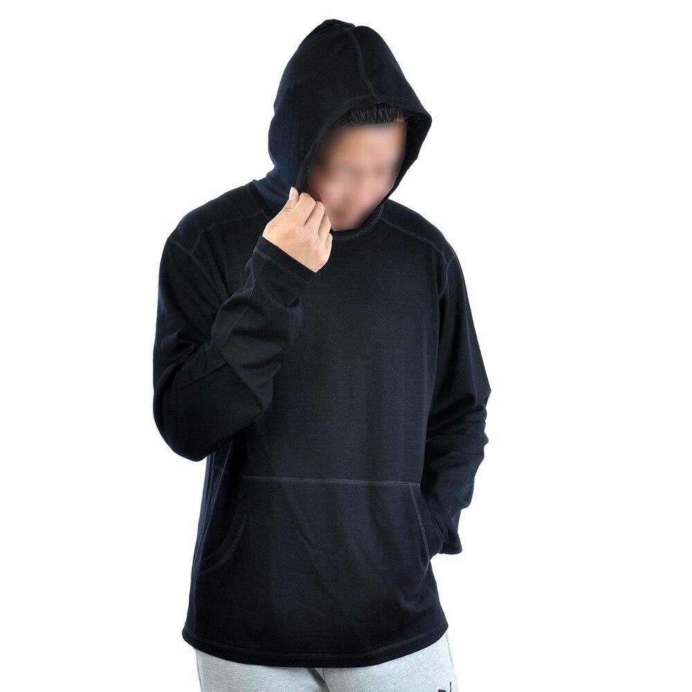 Hombres 100% lana Merino 300 gsm gruesa moda Sudadera con capucha capa Base Top Sudadera con capucha suéter de manga larga Jersey de punto plano-in Camisetas from Ropa de hombre    1