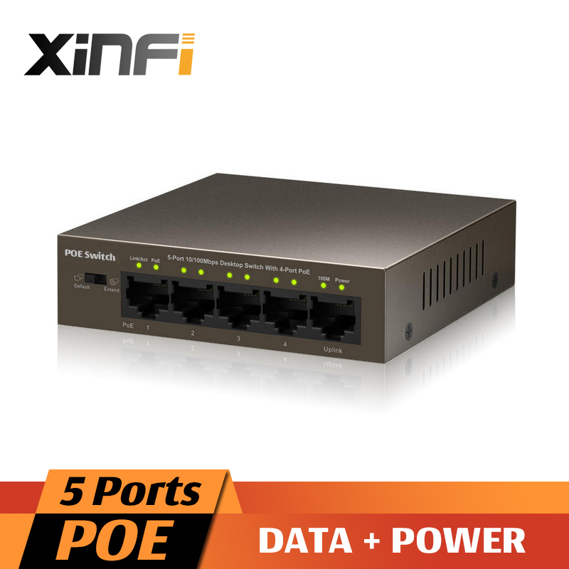 XinFi 5 Ports PoE switch IEEE802.3af / IEEE802.3at 4 PoE Switch Power Over Ethernet Endspan for IP Cameras AP IP Phone