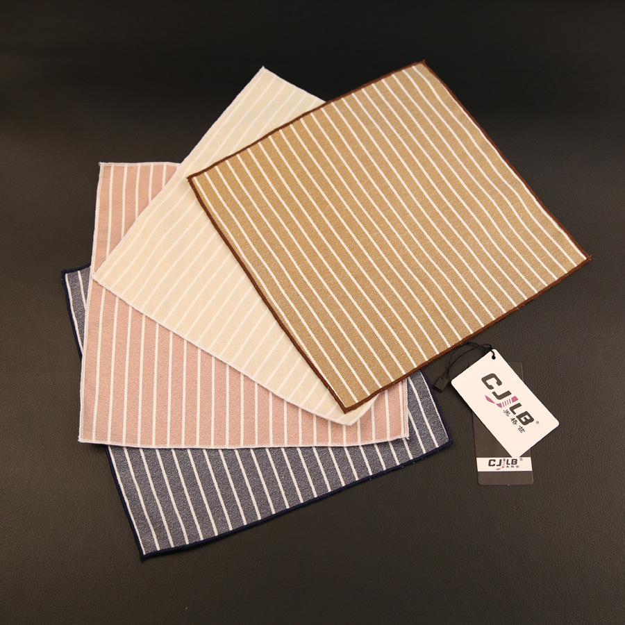 30pcs/lot 19color New Korean Fashion Designer High Quality Mens Pocket Square Handkerchiefs Cotton Striped 22x22cm For Business