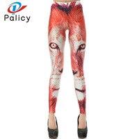 Palicy 2017 Moda Jesień Legging legins Lew 3D Drukowane legginsy Damskie legginsy Sexy Spodnie Damskie Czerwony Pomarańczowy Elastan