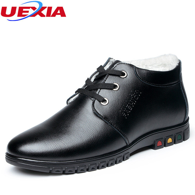 UEXIA Winter Warm Boots Fur Leather Father Shoes Fashion Handmade Ankle Boot Lace up Casual Flats Comfortable Working Motorcle