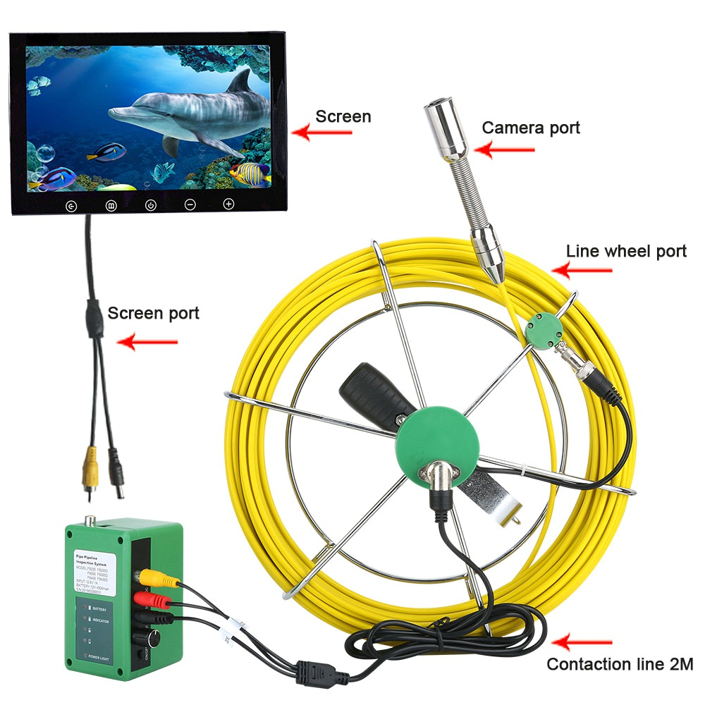 MAOTEWANG 20M 10 inch 17mm Industrial Pipe Sewer Inspection Video Camera  IP68 Waterproof Drain Pipe Sewer Inspection Camera