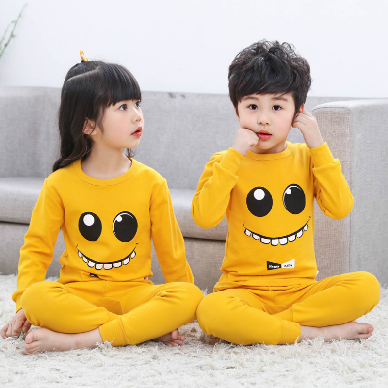 bf1aaa0a Коллекция 2019 года, осенние детские пижамные комплекты Одежда для  маленьких мальчиков и девочек пижамы для девочек футболка с длинными рука.