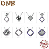 BAMOER Hot Sale 925 Sterling Silver Clearly CZ Geometric Square DIY Pendants Necklaces For Women Fashion
