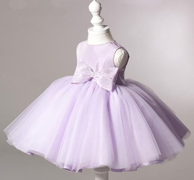 Newborn Violet Baby Girl Dresses Super Big Bow Baby Christening Ball ...