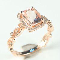 Art Deco Morganite Natural Diamonds Filigree Solid 14k Rose Gold Engagement Ring Wedding Jewelry Millgrain