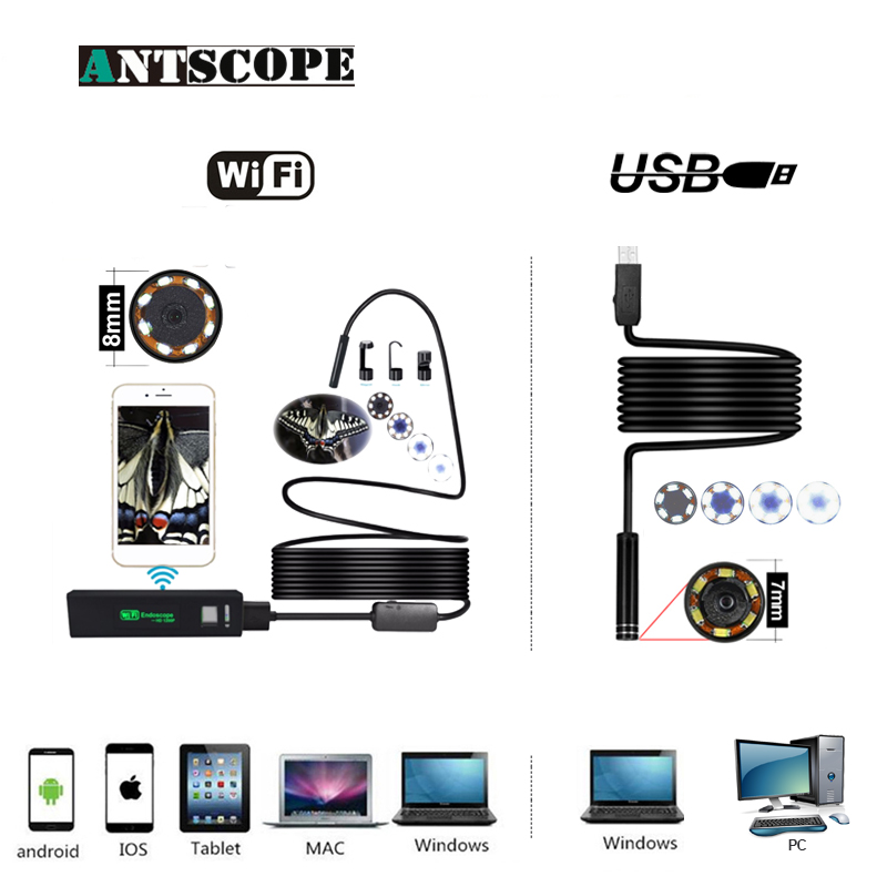 Antscope WIFI 1200P HD Waterproof endoscope camera Hard Tube Borescope Camera Wifi Endoscope Camera And 7mm usb endoscope 19