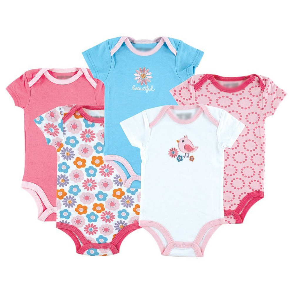 5 Pcs Lot Car Themed Baby Clothing 5 Pack Baby Bodysuits Baby Girl