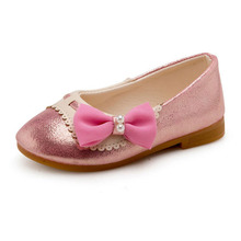 2017 Cute Girls Fashion Shoes Lovely Bowknot Decorated Pearl Design Kids Casual Single Shoes Pink Gold