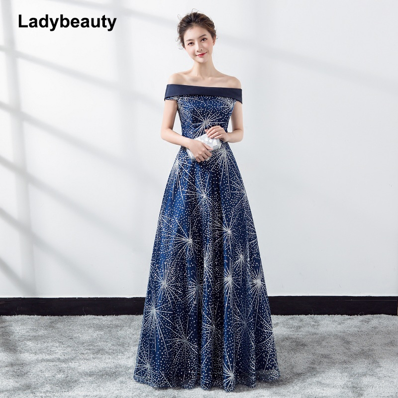 Ladybeauty 2018 Navy blue Luxury Satin Lace Flower Long   Evening     Dress   The Princess Married Banquet Party Prom   Dress