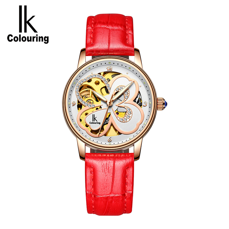 IK ColourinNew unique watch female fashion trend Korean version of the new 2018 students simple diamond clover mechanical female