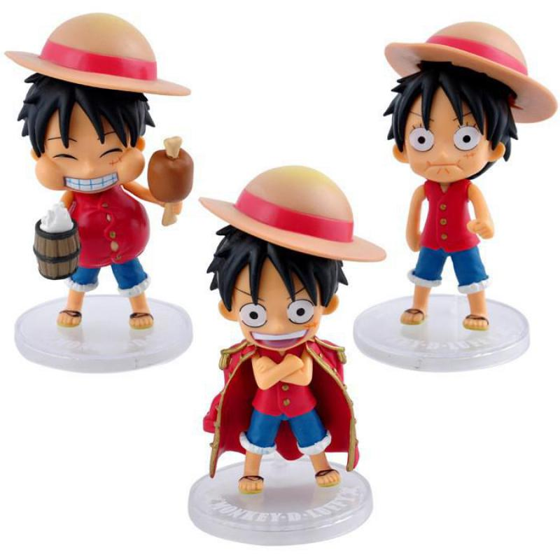 3pcs/lot One Piece Figures 3 Styles Q Version Luffy PVC Action Figure Toys Anime Model Collection Free Shipping hot sale 26cm anime shanks one piece action figures anime pvc brinquedos collection figures toys with retail box free shipping