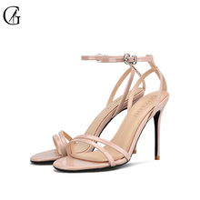 Купить с кэшбэком GOXEOU 2019 new round patent leather with a nude color sandals professional office high heels shoes