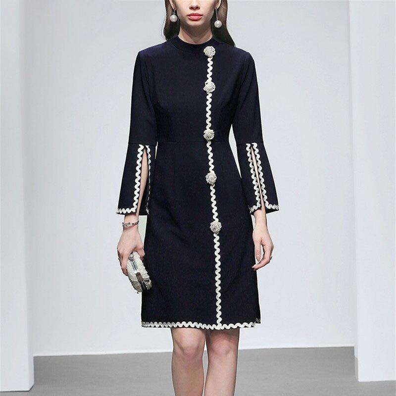 Grade élevé Designer Piste Robe 2019 Femmes De Mode Printemps Dreses Élégante Broderie Perles Perles Simple Bureau robe de fête
