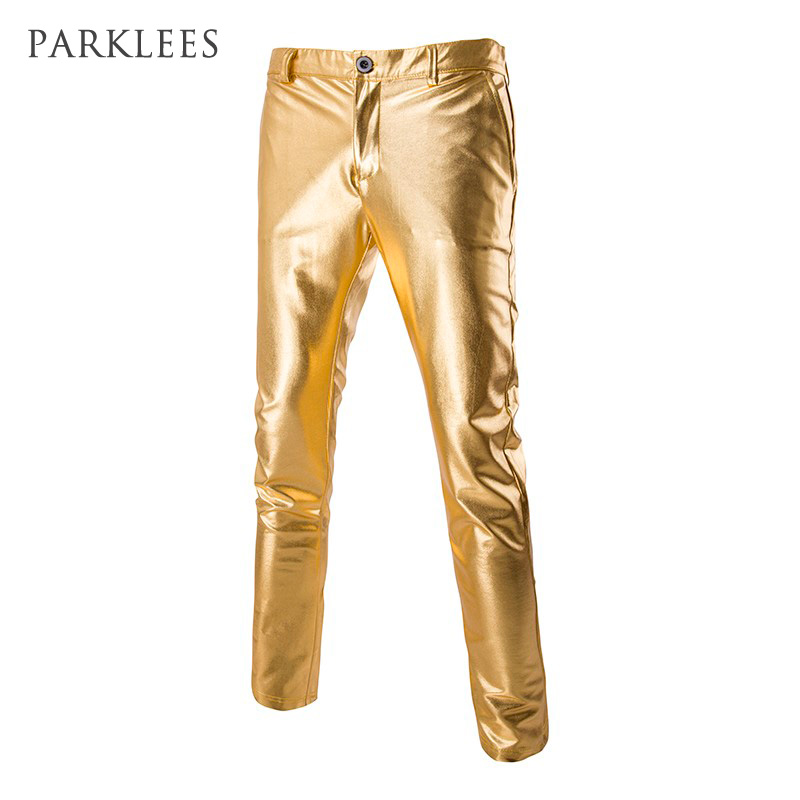 Mens Shiny Pants Silver Black Gold Trousers Nightclub Stage Costumes Male Fashion Pantalon Homme Performances Wedding Clothes ...