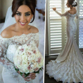Don's Bridal Sexy Lace Satin Beaded Long Sleeve Boat Neck Zipper Court Train Mermaid Wedding Dress 2016