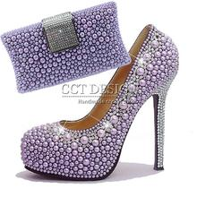 Fashion Women Extreme High Heels Unusual Purple Pearl Platform Wedding Italian Shoes With Matching Bags Bridesmaids Pumps