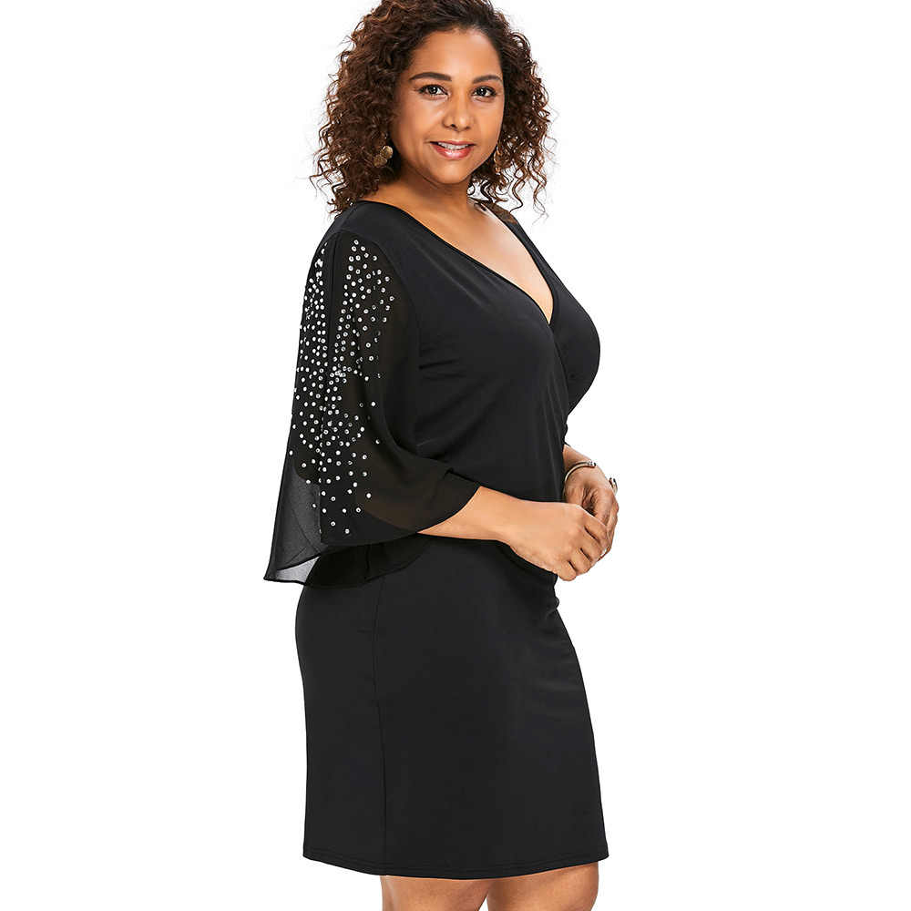 Wipalo Plus Size 5XL Flare Sleeve Overlap V Neck Bodycon Surplice Dress Women Split Sleeve Sparkly Party Dresses Femme Vestidos