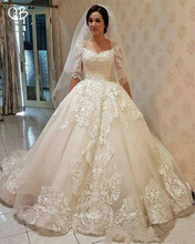 Princess Half Sleeve Lace Tulle Vintage Wedding Dresses Gowns 2019 New Fashion Custom Made DW283
