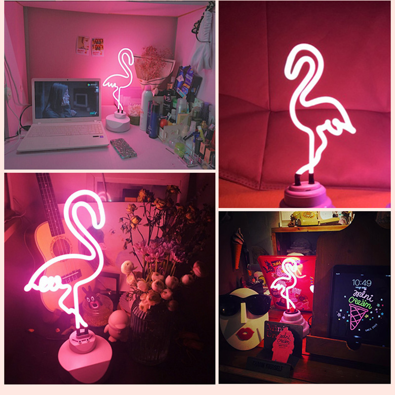 LED Neon Night Light Table Night Lamp Flamingo Rainbow Cloud Cactus USB Battery Operated for Home Wedding Christmas Decoration romantic heart star cloud lamps 3d led table night light battery operated home indoor bedroom party decoration kids gifts