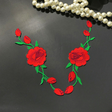 купить 2pcs/lot Embroidered Rose Flower Patch for Clothes Iron On Patch for Shoes Jacket Stickers Free Shipping дешево
