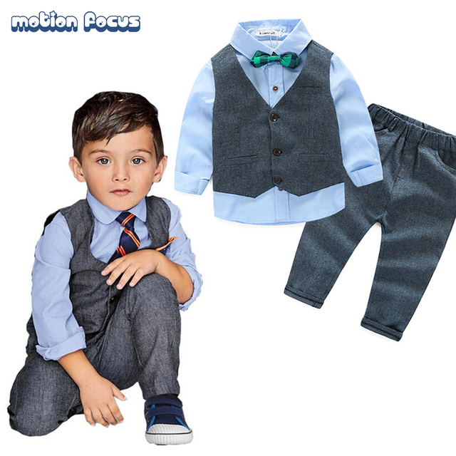 4a03be015fd2c Top Quality Children Baby Boy Clothing Set Little Boys Formal Clothes  Gentlemen Vest Suit + Tshirt + Pants Kids Party Wearing-in Clothing Sets  from ...