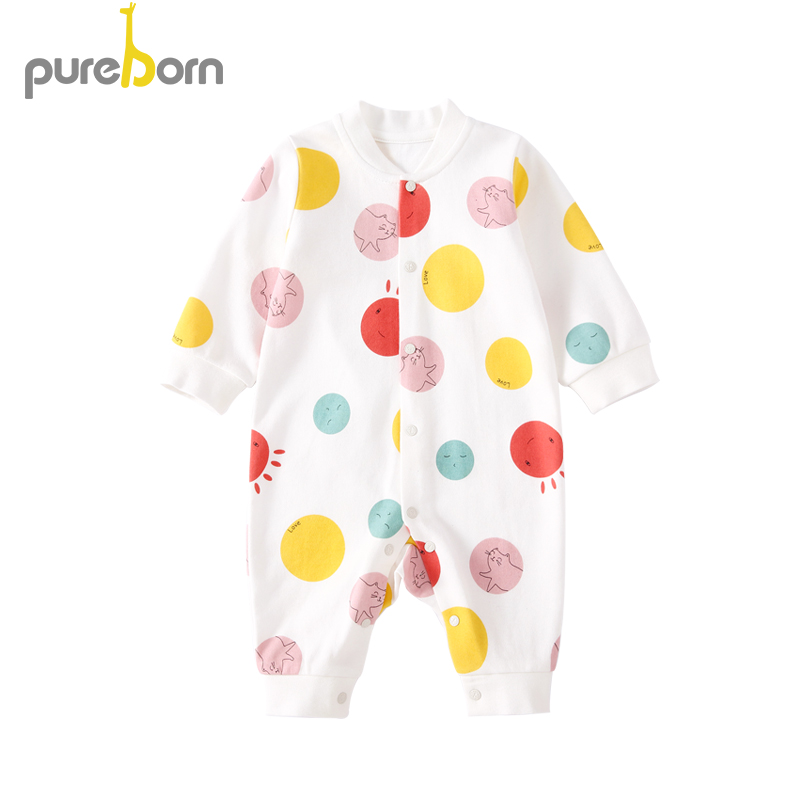 Pureborn Newborn Infant Baby Boy and Girl   Romper   Cotton Cartoon Baby Long Sleeve Clothes Spring Autumn One-Piece