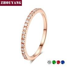 Обручальное кольцо для женщин и мужчин, лаконичное классическое многоцветное мини кубическое циркониевое розовое золото, модное ювелирное изделие R132 R133 ZHOUYANG
