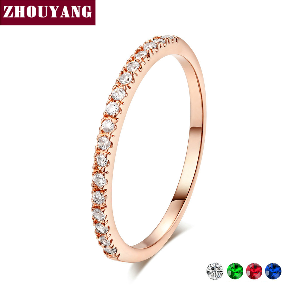 Wedding Ring For Women Man Concise Classical Multicolor Mini Cubic Zirconia Rose Gold Color Fashion Jewelry R132 R133 ZHOUYANG(China)