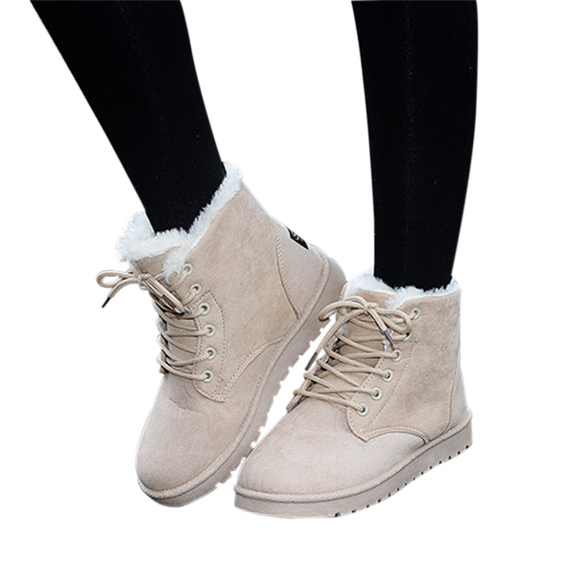 цена на Winter women snow boots fashion Footwear 2016 solid color female ankle boots for women shoes warm comfortable botas mujer ST903