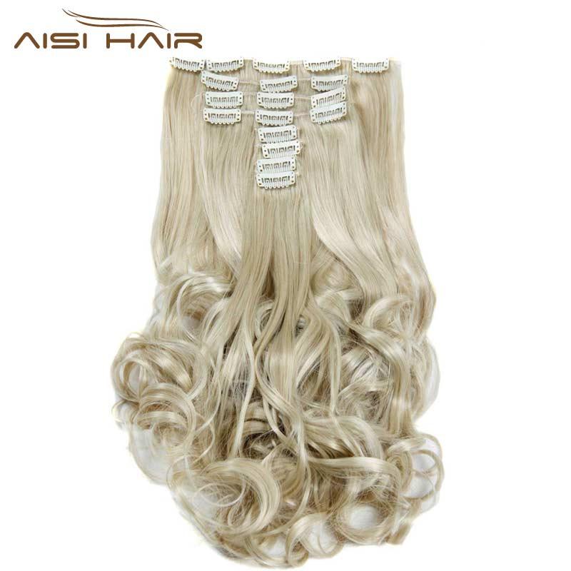मैं बाल एक्सटेंशन 8pcs में एक विग सिंथेटिक 18 क्लिप्स / सेट 22 इंच लम्बी लहराती सुनहरे बालों वाली है