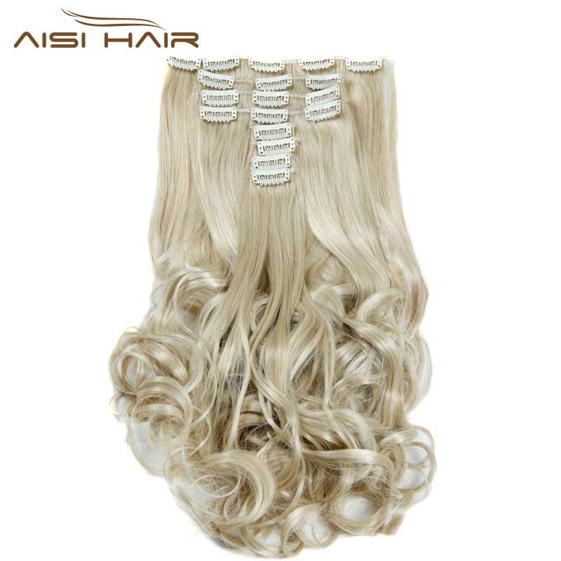 I's a wig Synthetic 18 Clips in Hair Extension 8pcs/set 22inch Long Wavy Blonde Hairpiece