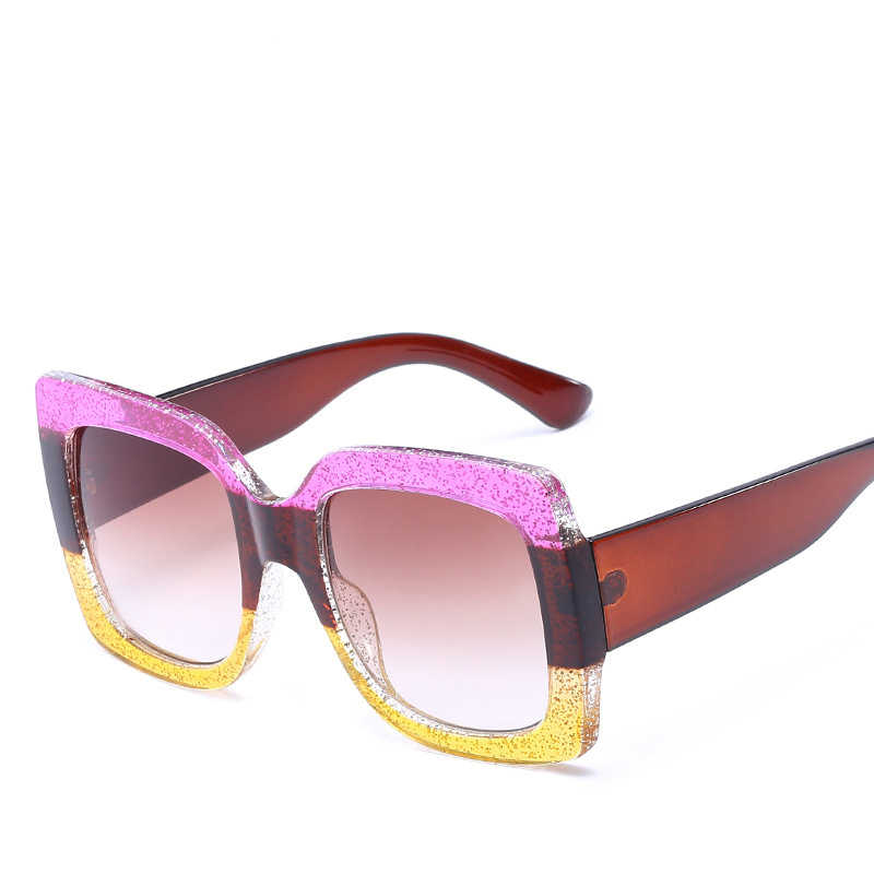 Plac nowa luksusowa marka projektant ponadgabarytowych duże kobiety lustro Sexy jasne okulary przeciwsłoneczne pani czerwony zielony odcienie kryształowe okulary przeciwsłoneczne