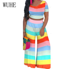 WUHE Casual 2 Pieces Sets Colorful Stripes Wide Leg Jumpsuits Women Short Sleeve O-neck Loose Playsuits Summer Vintage Overalls