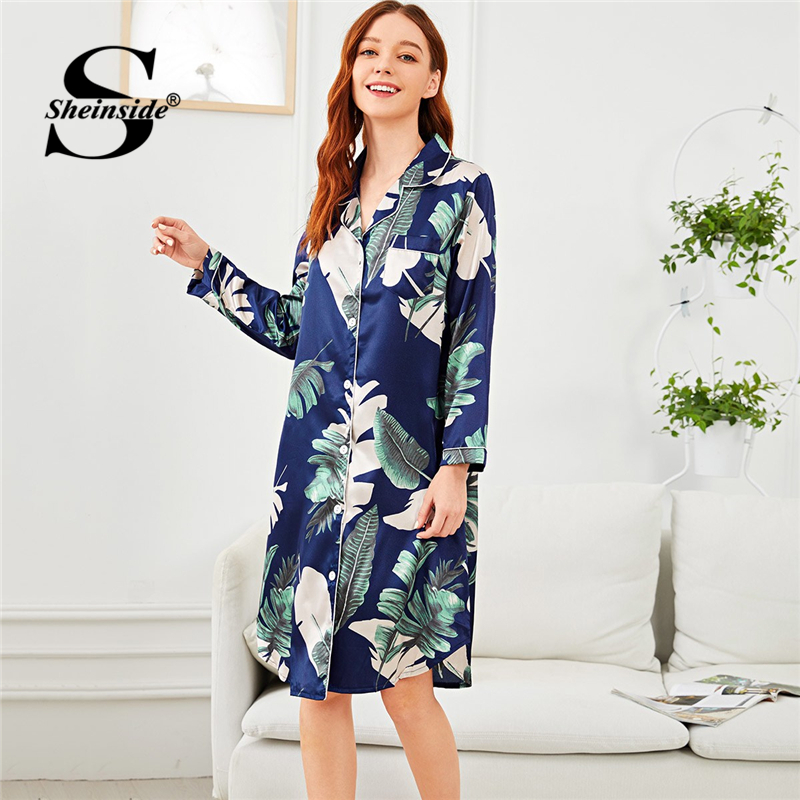 Sheinside Tropical Print Button Up Night Dress Summer   Nightgowns   And   Sleepshirts   For Women Long Sleeve Sleepwear Femme   Nightgown