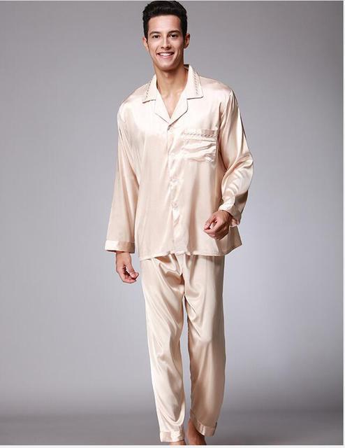Moda de Los Hombres de seda reales Traje Pijama Pijama suave Como la Seda albornoz Bordado tecnología juego Del Ocio Pijamas QTZ077