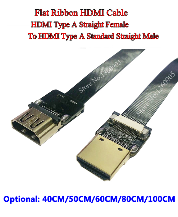 40CM/50CM/60CM/80CM/1M Ultra Thin HDMI Soft Cable Standard Straight A Female to A Male Ribbon Flat Cable HDMI Soft Super Cable 80 channels hdmi to dvb t modulator hdmi extender over coaxial