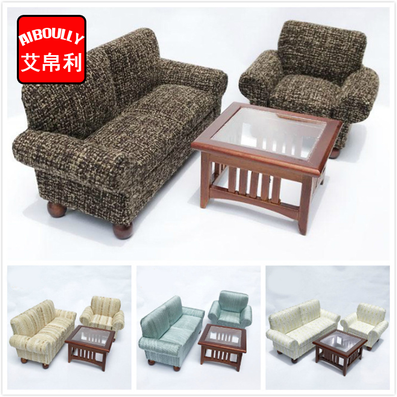 Dollhouse Miniature Furniture Sofa Toy Living Room Furniture Wooden Table Sofa Dollhouse Miniatures 1:12 Room Sets 1 12 dollhouse miniatures furniture re ment refrigerator hearth integral kitchen lampblack machine