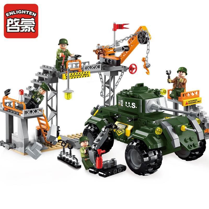 1712 ENLIGHTEN City Military War Maintenance Plant Model Building Blocks Enlighten DIY Figure Toys For Children Compatible Legoe b1600 sluban city police swat patrol car model building blocks classic enlighten diy figure toys for children compatible legoe