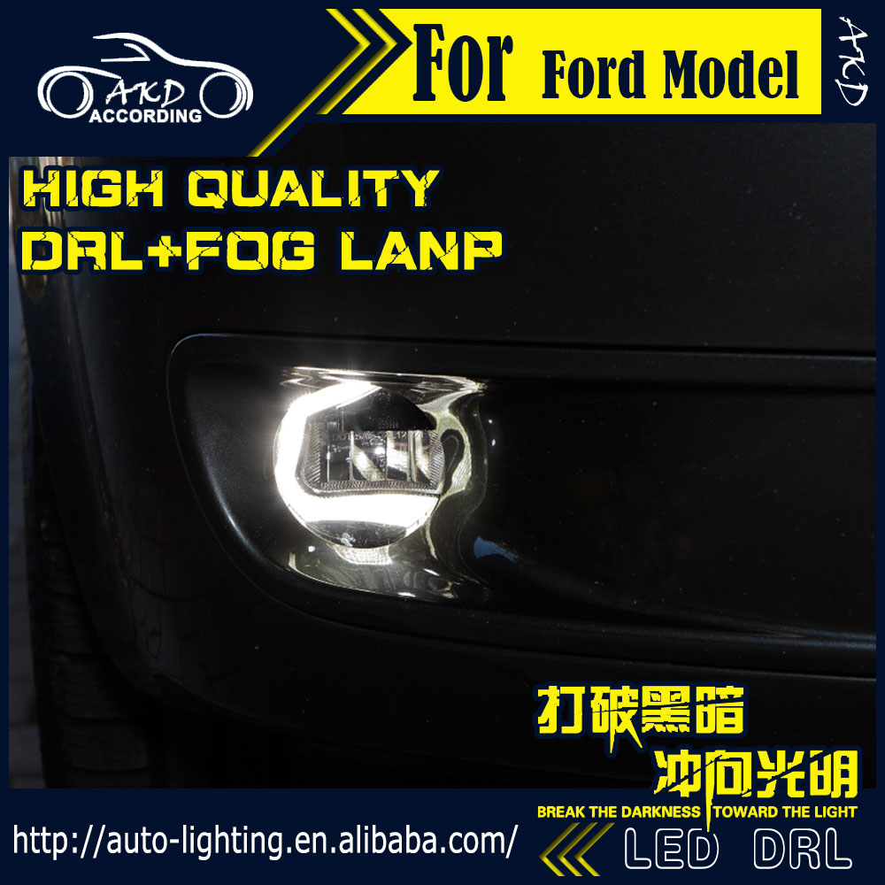 AKD Car Styling for Ford Fiesta LED Fog Light Fog Lamp Fiesta LED DRL 90mm high power super bright lighting accessories 1 pcs diy car styling new pu leather free punch with cup holder central armrest cover case for ford 2013 fiesta part accessories
