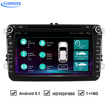Funrover 2 Din Android 5.1 Quad Core 16GB Car DVD Player Stereo Navigation For VW Skoda POLO GOLF 5 6 PASSAT CC JETTA TIGUA Seat