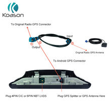 Koason Car GPS Antenna Splitter Cable for BMW Benz Audi Android Screen bmw GPS Splitter Cable Car Navigation GPS Accessories