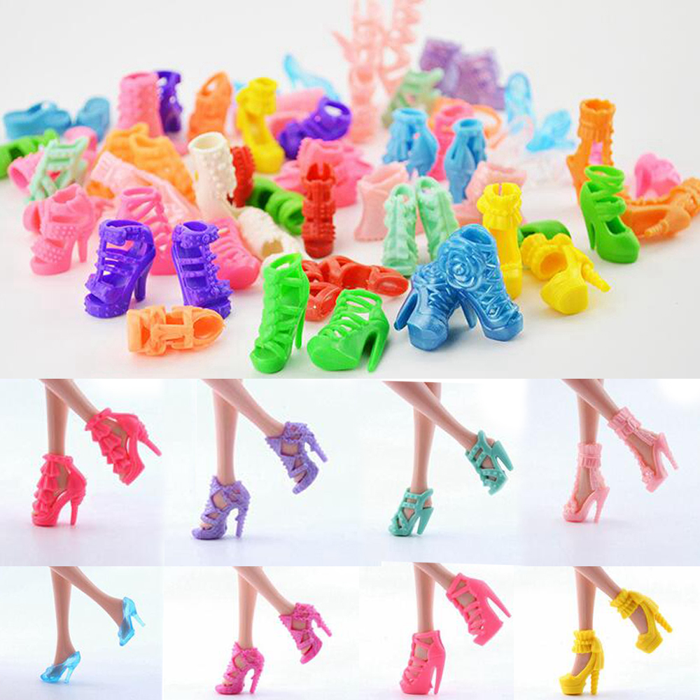 NK 10 pairs Doll Shoes Fashion Cute Colorful Assorted shoes for Barbie Doll with Different styles High Quality Baby Toy 1set fashion doll shoes cute colorful assorted shoes high heel sandals for barbie doll outfits dress accessories girls gift